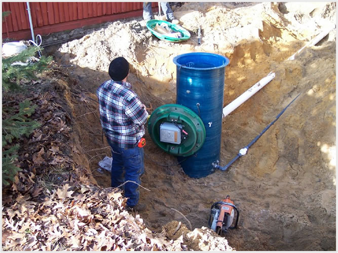 Septic grinder pump system diagram septic lift pump for Residential sewer systems